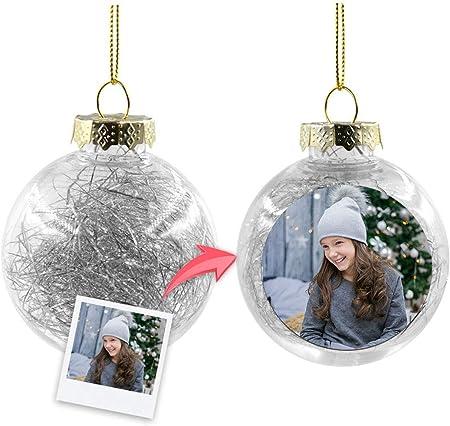 Getsingular Bolas de Navidad Transparentes para árbol Personalizados con Foto | Máxima Calidad de impresión | Incluye Cinta para Colgar | Bola Plateada: Amazon.es: Hogar