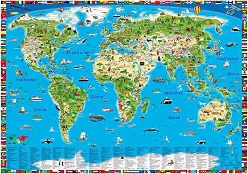 Illustrierte Weltkarte: Erlebniskarte