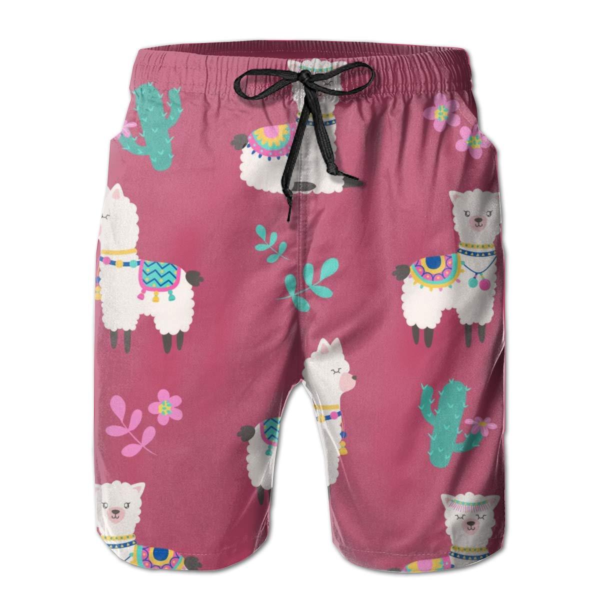 Cute Alpaca Funny Cactus Mens Swim Trunks Beach Shorts with Mesh Lining Boardshort
