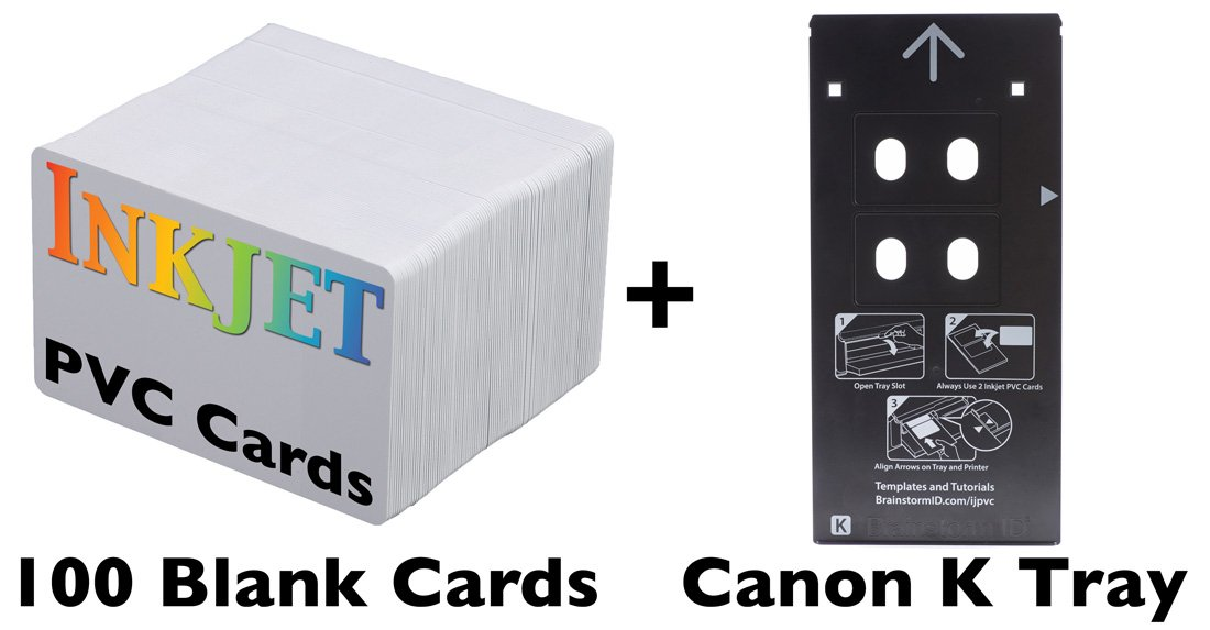 Inkjet PVC Card Starter Kit for Canon PIXMA PRO-10 and PRO-100 (Canon K Tray Printers) Includes Tray and 100 Inkjet PVC Cards Brainstorm ID