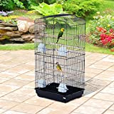 Festnight Parrot Bird Cage with Stand Black 36''