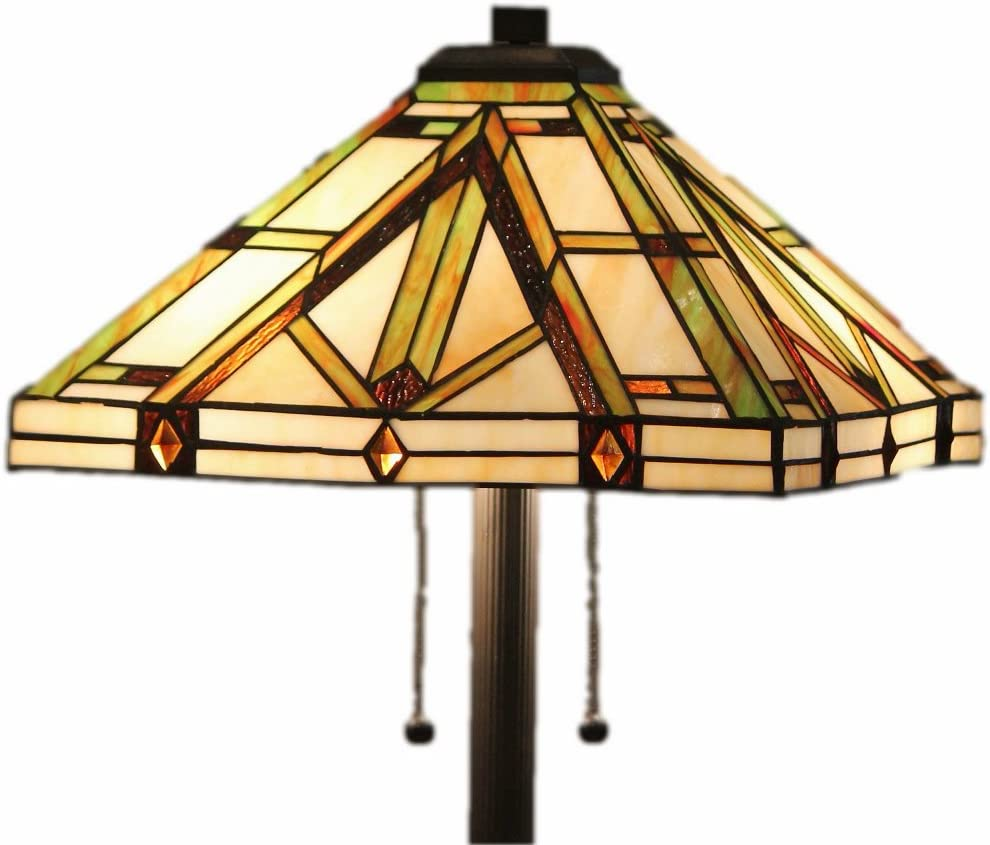 Tiffany Style Stained Glass Floor Lamp Golden Mission