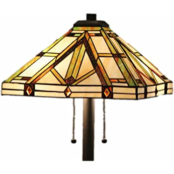 Tiffany Style Stained Glass Table Lamp Golden Mission