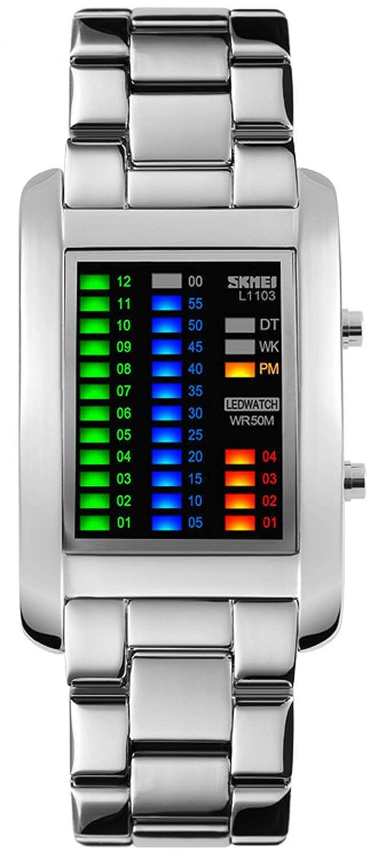 carlien Brand hombres lujo creativo relojes pantalla LED Digital muñeca relojes de lujo de moda calidad reloj diagrama: skmei: Amazon.es: Relojes