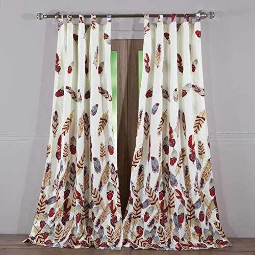 Finely Stitched Window Treatments Tab Top Curtains Panels Lined Lodge Log Cabin Style Feather Print Design Ivory Red Grey 84 Inch Length Long Pair Set of 2- Includes Bed Sheet Straps - Printed Tab Top Curtains