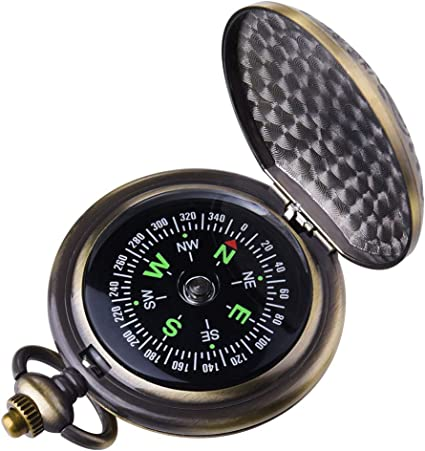 Laupha Survival Gear Compass Pocket Military Antique Compass for Kids Accurate Waterproof for Hiking Outdoor Camping Motoring Boating Backpacking Compass Tool