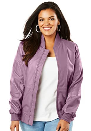 df052488f63 Roamans Women s Plus Size Classic Leather Bomber at Amazon Women s ...