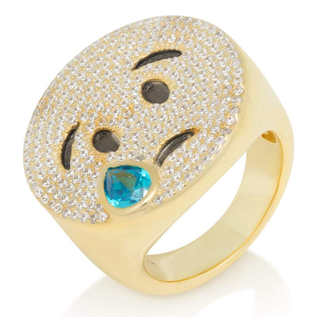 14k Yellow Gold Finish 0.58 Ctw CZ Diamond Mens Cry Emoji Pave Set Ring in 925 Silver