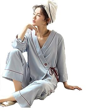 Conjunto De Pijamas De Algodón Kimono Sexy Para Mujer Conjunto De 2 Piezas Plisado Suave Y
