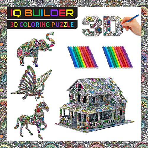 IQ BUILDER | FUN CREATIVE DIY ARTS AND CRAFTS KIT | BEST TOY GIFT FOR GIRLS AND BOYS AGE 8 9 10 11 12 YEAR OLD | EDUCATIONAL ART BUILDING PAINTING COLORING 3D PUZZLE PROJECT SET FOR KIDS AND ADULTS (Teenage Girl Gift)