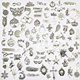 100 Mix No Repeated Silver Pewter Charms Pendants Mega Mix DIY for Jewelry Making and Crafting Same As Photo