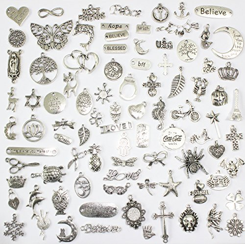 100 Mix No Repeated Silver Pewter Charms Pendants Mega Mix DIY for Jewelry Making and Crafting Same As Photo (Charms)