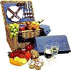Picnic Basket Set - 2 Person Picnic Hamper Set - Waterproof Picnic Blanket