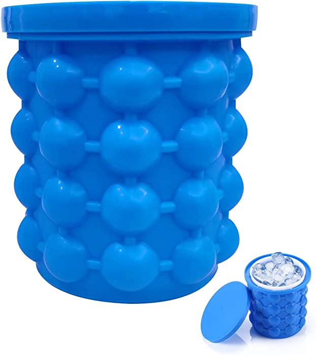 ALLADINBOX Ice Cube Mold Ice Trays, Large Silicone Ice Bucket, (2 in 1) Ice Cube Maker, Round,Portable,For Frozen Whiskey, Cocktail, Beverages (Dark blue)
