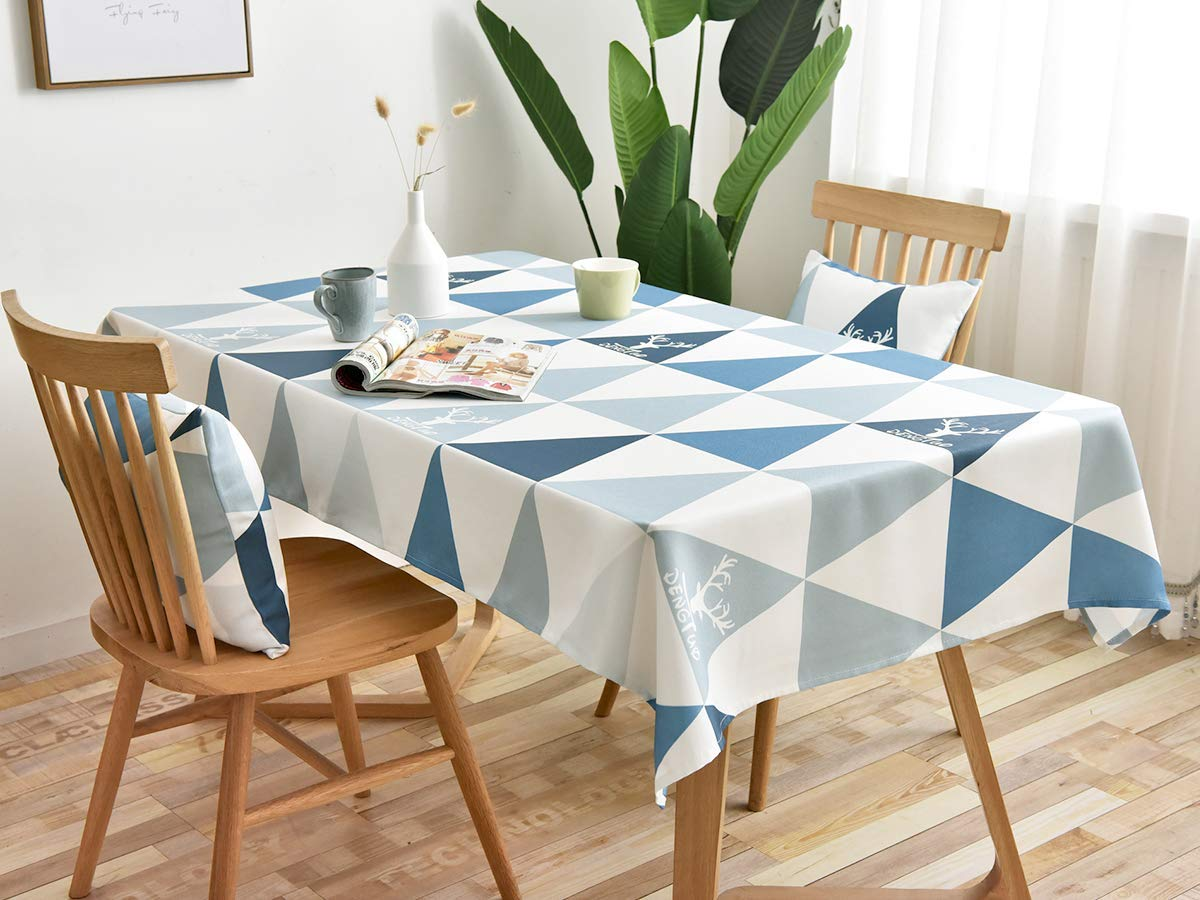 MODERN HOMES Printed Cotton Tablecloth for Dining Table, Patio Table,  Picnic Table, Hotel Buffet Table; Blue Table Cover 27x27 inches (27 Seater)
