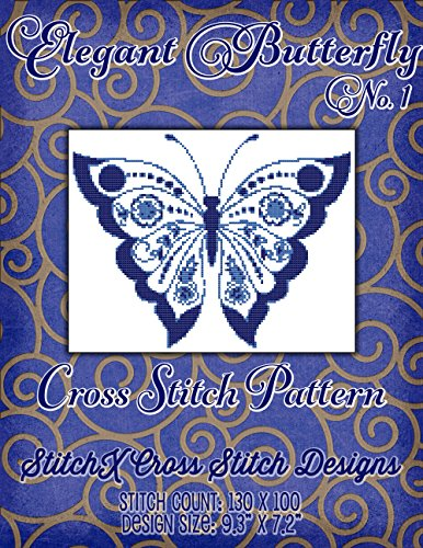 Chart Pattern Butterfly (Elegant Butterfly No. 1 Cross Stitch Pattern - Art Deco Style Design - Modern Cross Stitch - Just 2 Floss Colors)