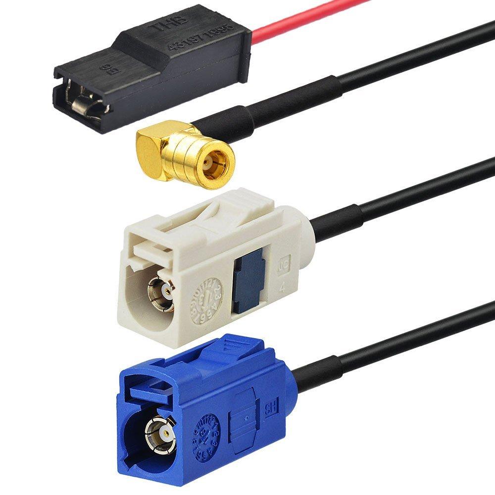 Eightwood Dab//Dab Antena Est/éreo Antena Splitter Am//FM GPS Antena de Techo Amplificador de se/ñal Coche Shark Antena SMB Conector Fakra con Cable RG174 500cm