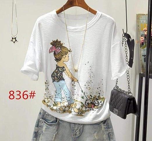 Ltong Camiseta de algodón Mujer, Camisetas Sueltas Estampadas para ...