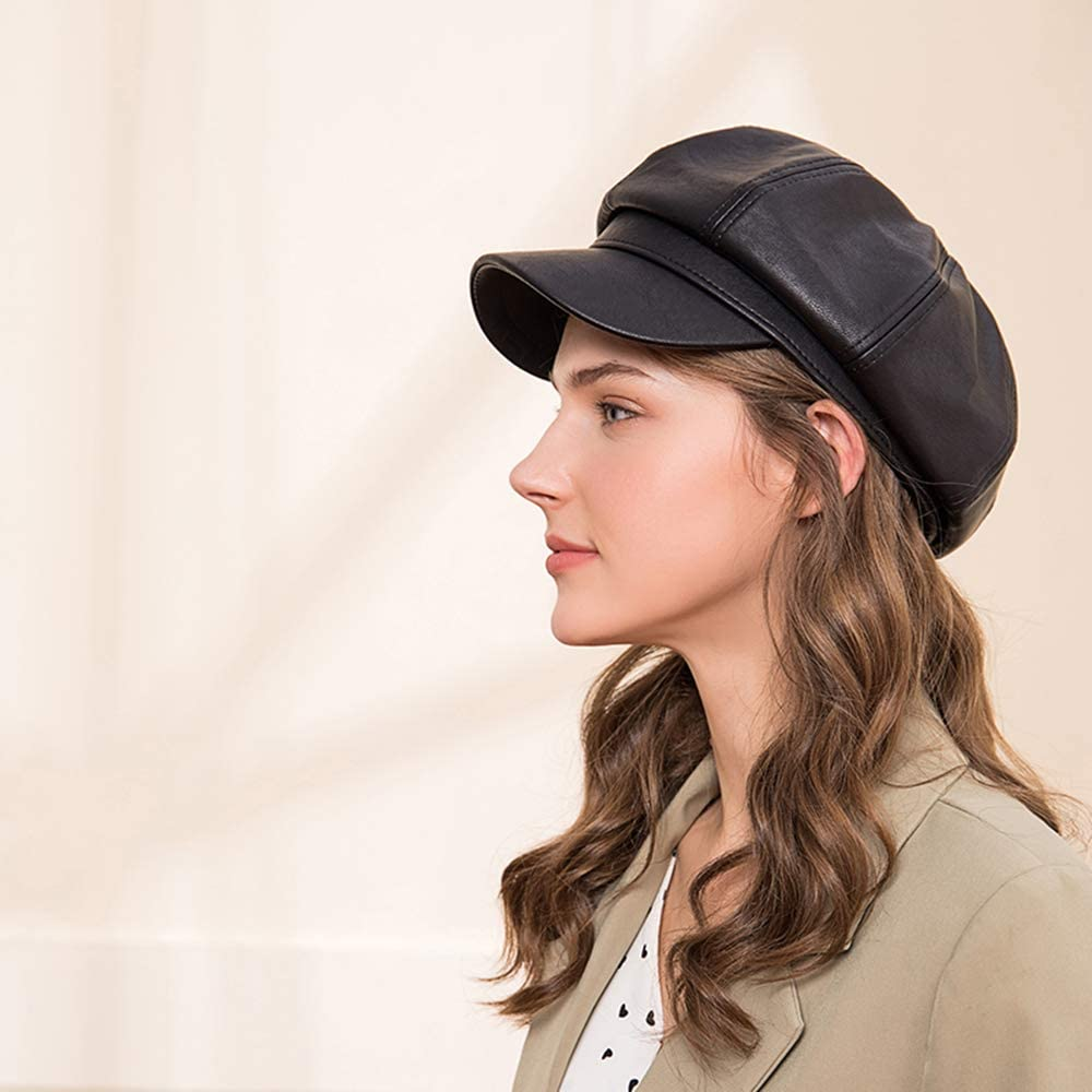 MAYEV Womens 8 Panels Newsboy Cabbie Beret Cap,PU Leather Cabbie Painter Hat Gatsby Ivy Beret Cap
