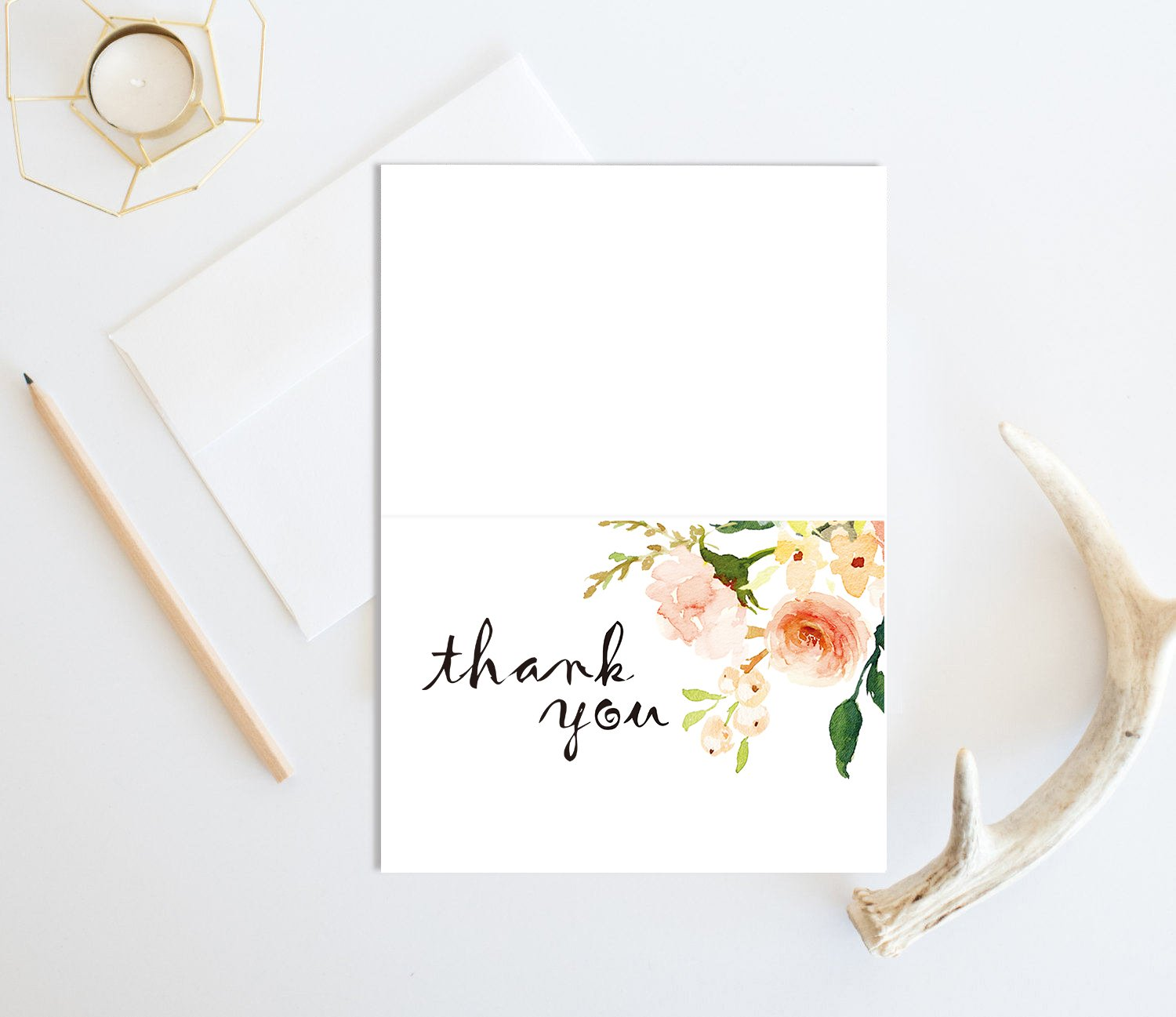 Bridal Shower Chic Greeting Cards 25 Bulk Pack Pink Floral Thank You Cards with Envelopes Meet Wedding 4 x 6 Boho Flower Thank You Notes Girl Baby Shower More Occasion Blank Inside