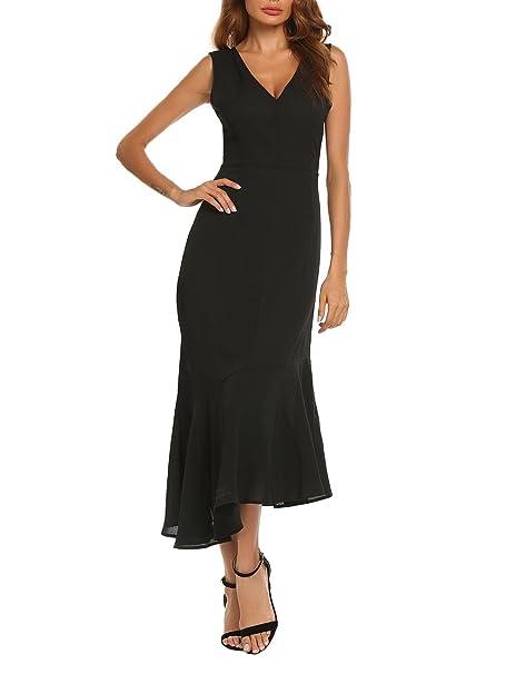 0840e6e59a9551 Zeagoo Women s Retro V-Neck Sleeveless Asymmetrical Long Maxi Bodycon  Mermaid Cocktail Party Dress(