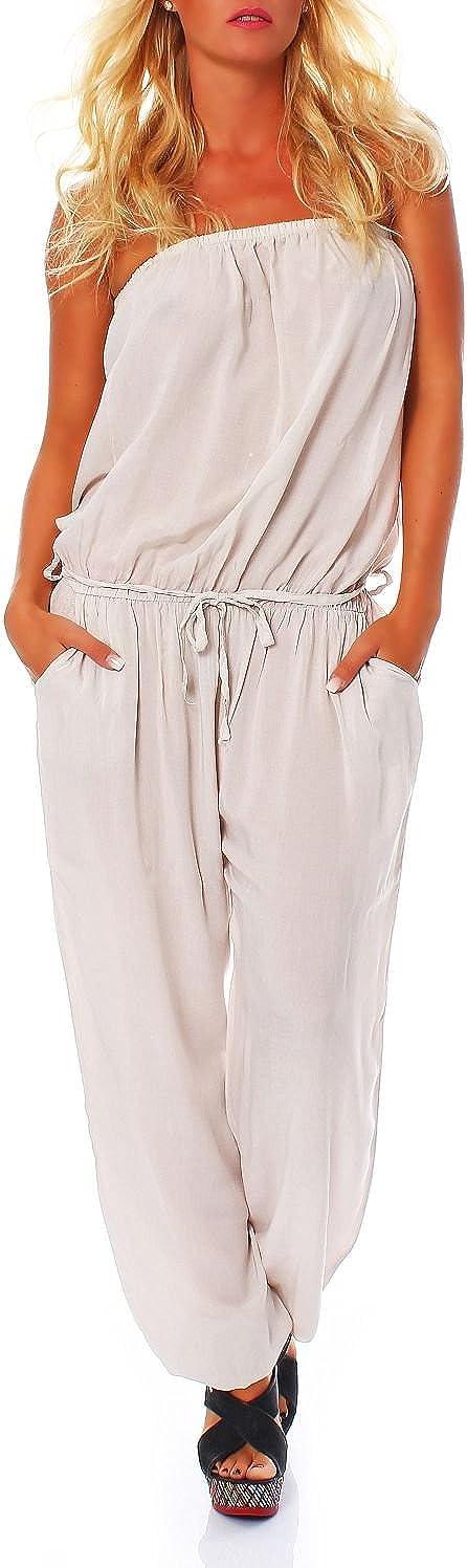 Jumpsuit Overall mit Stoffg/ürtel Romper 4538 Malito Damen Einteiler in Uni Farben Hosenanzug