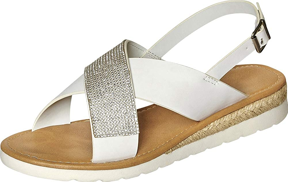 White Pu Cambridge Select Women's Open Toe Crisscross Strappy Crystal Rhinestone Low Wedge Espadrille Sandal