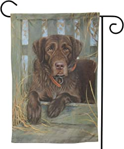 Labrador Dog Lab Chocolate Cute Big Large Jumbo for Party Themed Flag Welcome Outdoor Outside Decorations Ornament Picks Garden Yard Decor Double Sided 12.5X 18