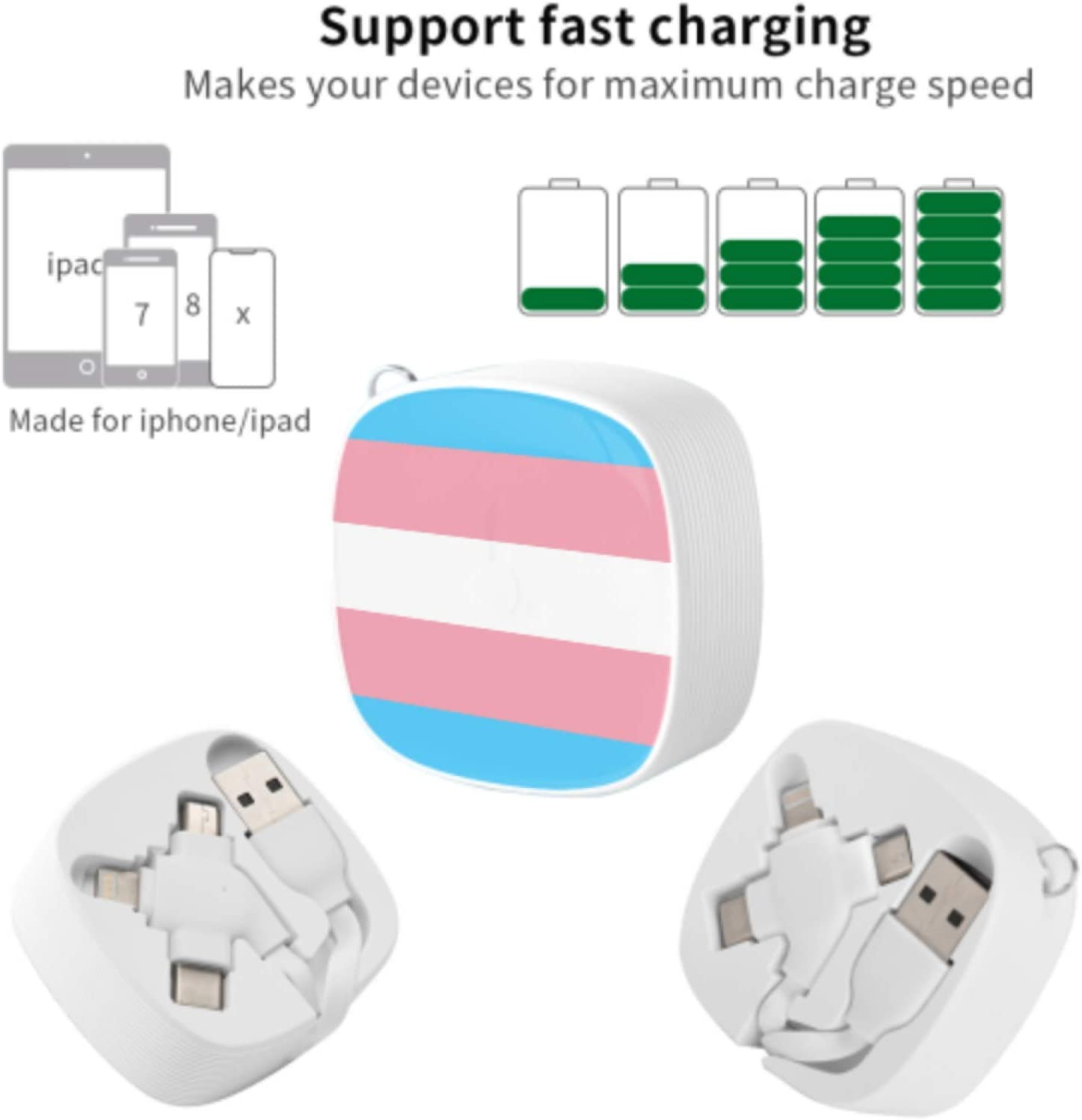 Phone Charger USB Cable Transgender Pride Flag Format Multi 3 in 1 Retractable USB Charger Cable Fast Charging with Micro USB//Type C Compatible with Cell Phones Tablets and More