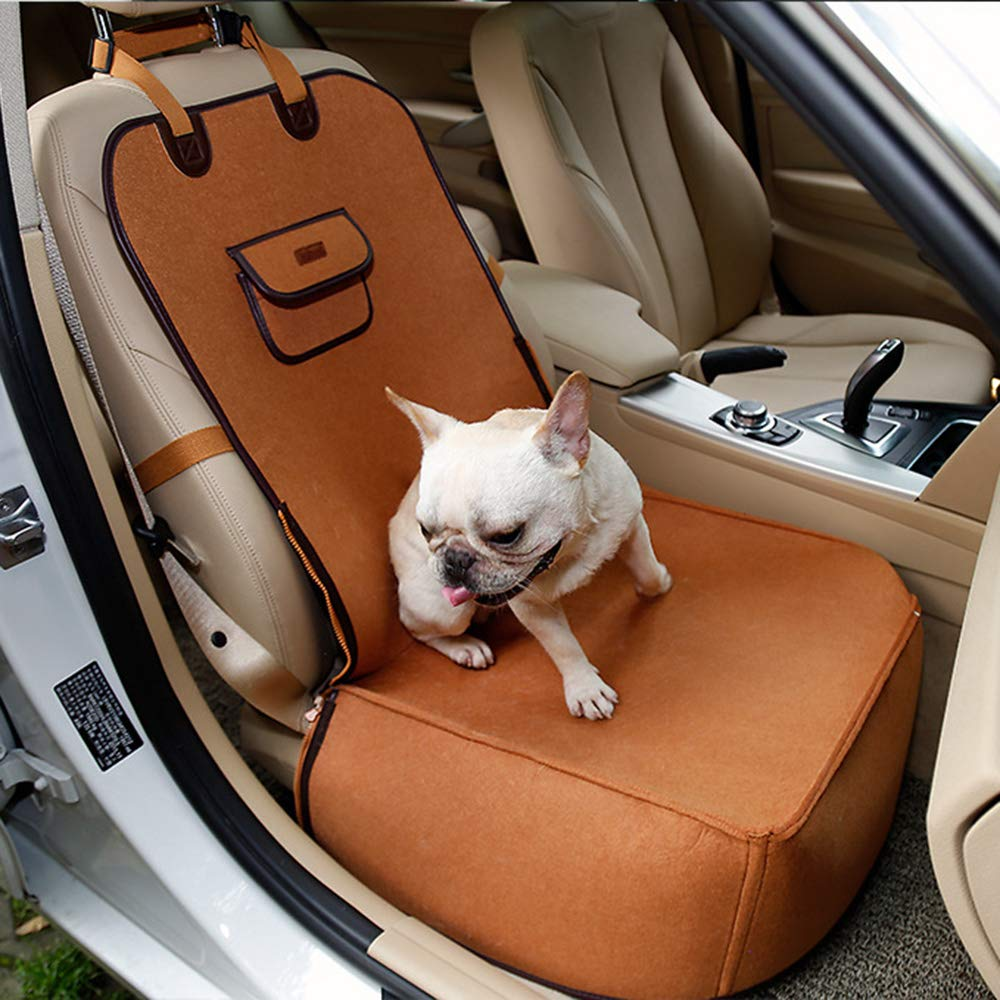 Brown Dual-use Pet Car Mattress Dog Car Seat Travel Carrier Pet Travel Safety Car Seat Pet Booster Seats Dog Bed for Car 45X45X60cm