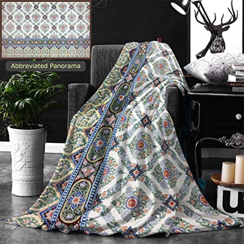 Ralahome Unique Custom Double Sides Print Flannel Blankets Traditional Thai Line Art Painting Super Soft Blanketry for Bed Couch, Twin Size 70 x 60 Inches by Ralahome