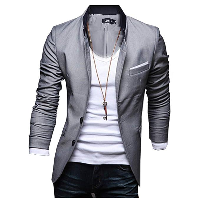 Chaqueta de hombres - TOOGOO(R) Hombres Delgada Chaqueta Blazer Abrigo Vestido - Gris