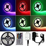 Vlio 3528 LED Strip 16.4 ft 5M 300 SMD RGB Colour Changing LED Rope Light Waterproof with 2A UK Power Supply + IR Receiver 44 Key Controller, Suitable for Home and Outdoor Light Decora