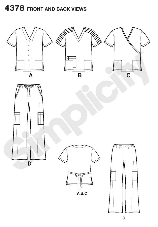 Simplicity 4378 AA - Patrones de costura para uniformes médicos de ...