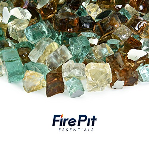 Fire Pit Essentials 10 Pounds Blended Fire Glass for Fireplace Indoor & Outdoor (1/2