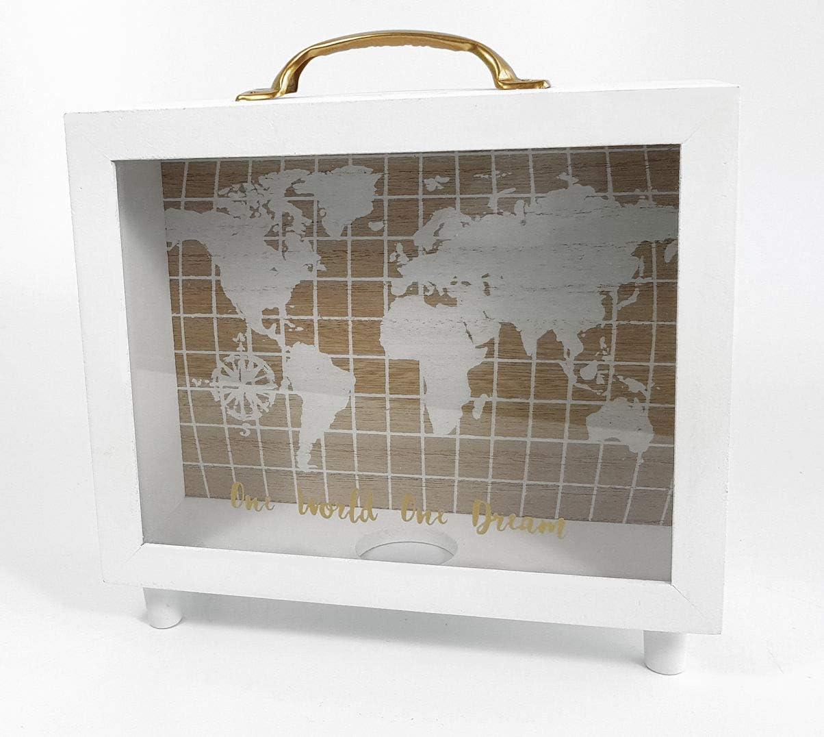 Madera Hucha One World One Dream – Bajo Caja con mapa del mundo – 20 x 20 x 7 cm – Hucha Dinero regalo Viaje – Caja registradora: Amazon.es: Juguetes y juegos