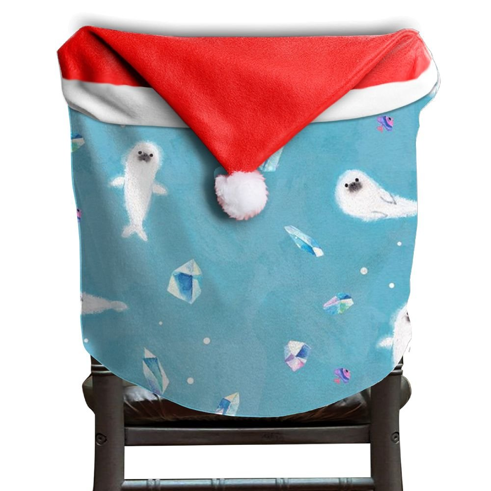 Walrus Animal Christmas Chair Covers Personalized Not Fade Santa Hat Chair Covers For Boyfriends Chair Back Covers Holiday Festive
