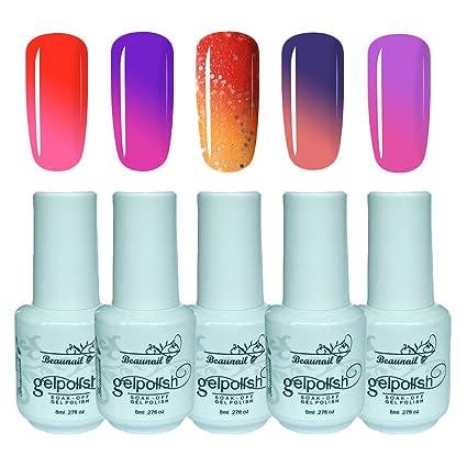 Juego de esmaltes de uñas de gel para manicura, 5 colores, cambio de color