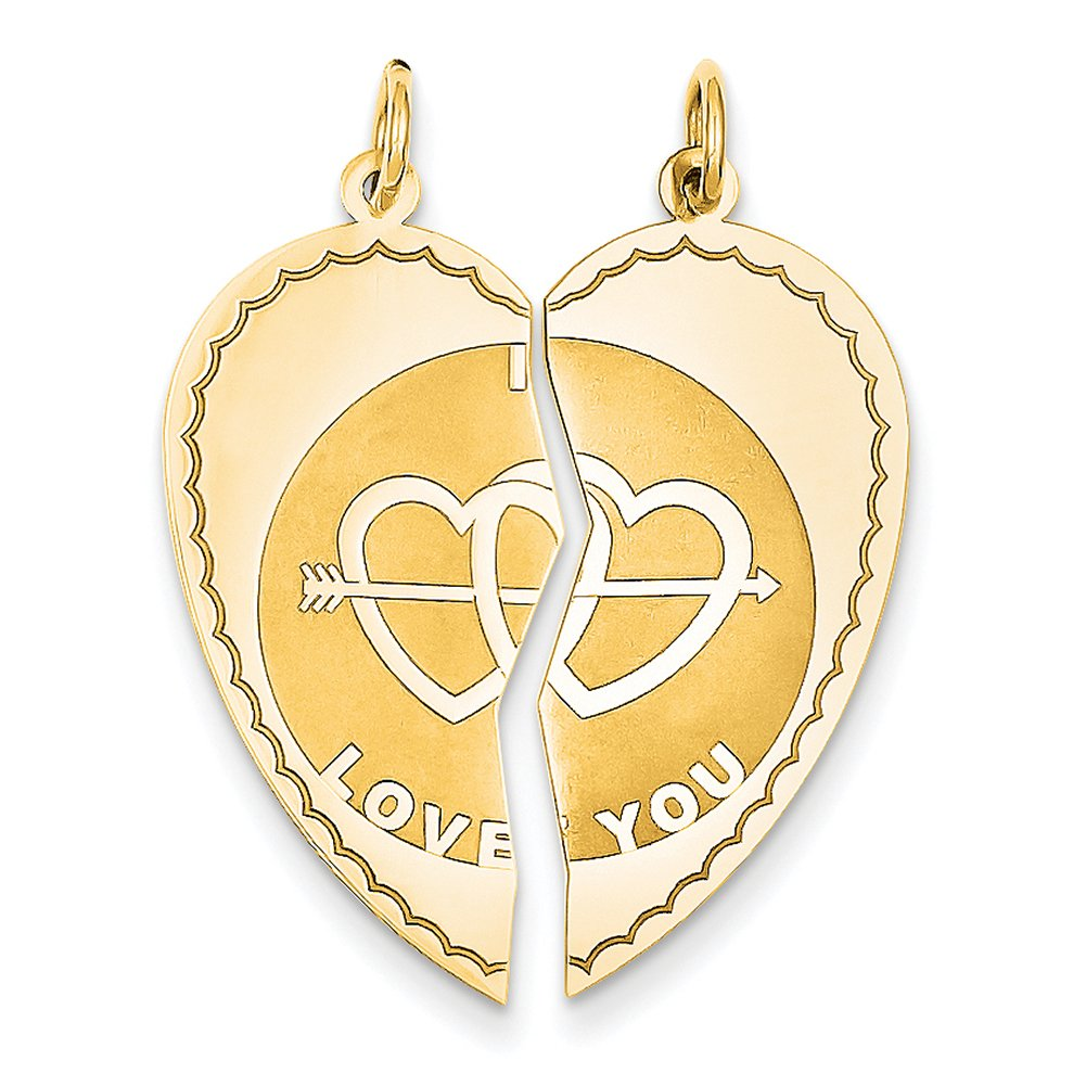 14k Yellow Gold Break-apart I Love You Charm XAC500