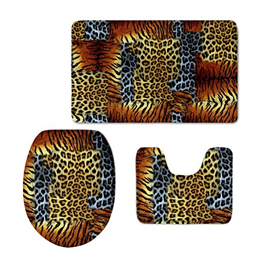 (CCBUTBA Bath Rug Set Leopard Tiger Striped Printed Non-Slip Absorbent Bathroom Mat Contour Rug Toilet Lid Cover)