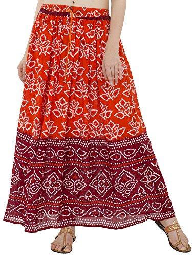 Cadeau Indien Classique Jupon SKAVIJ Jupe longueTaille Orange Elastique Ethnique Femme Dames Coton utile pour bohme Fleurie Plage Unique Maxi imprime awzdqgv
