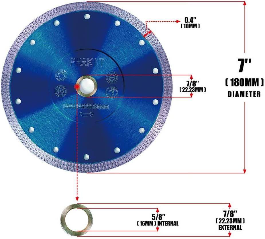 PEAKIT 7 Inch Tile Saw Blade Dry Wet Cutting 7