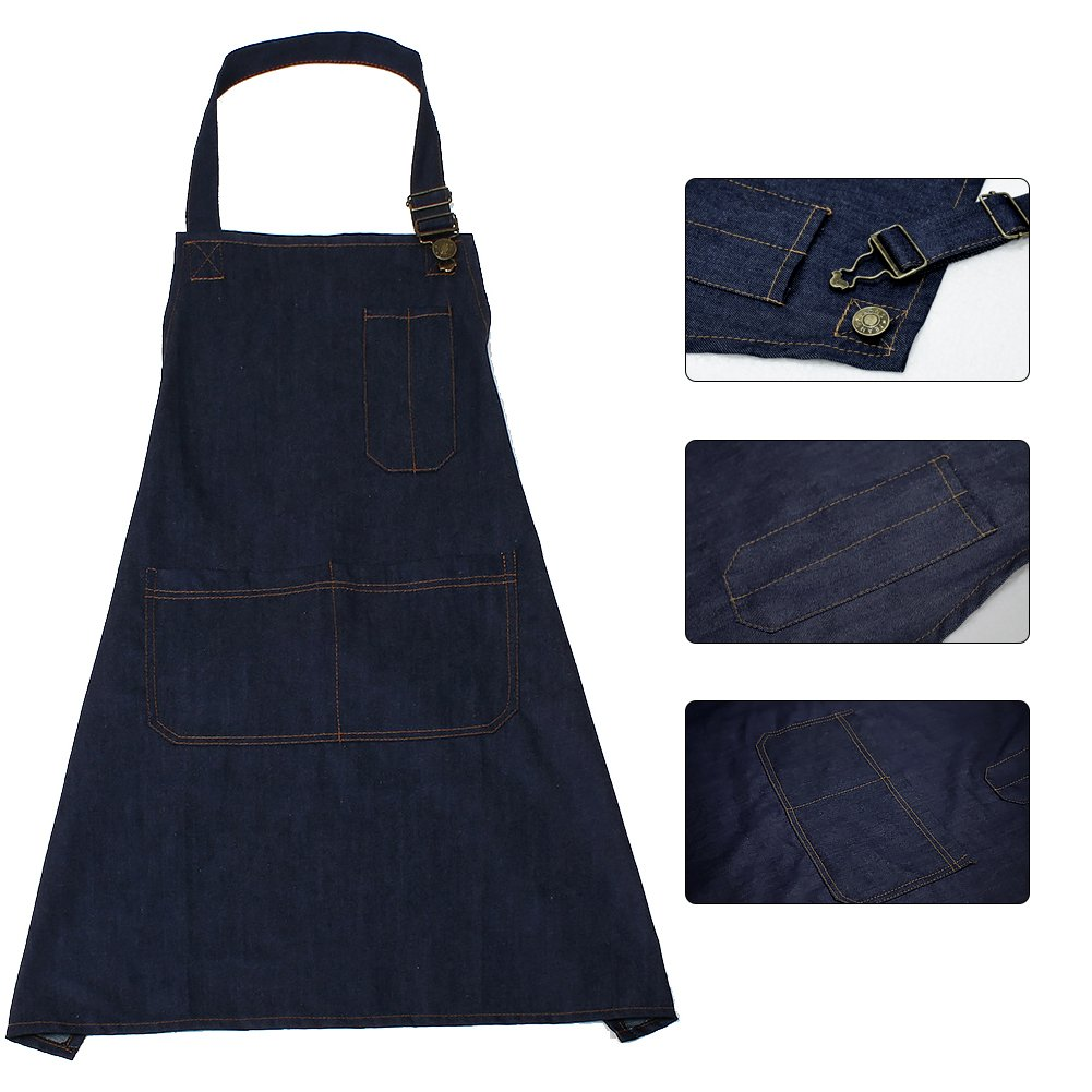 Akway Apron Demin Fabric Unisex Apron for Men&Women Aprons with Convenient Pockets, WQ-NZX