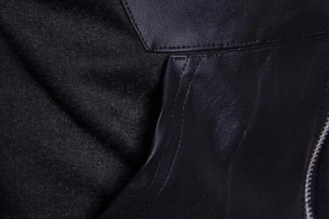 DressU Mens Plus Size Patched Black Motorcycle Hoodie Shirt Top