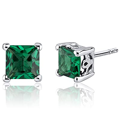 Image Unavailable. Image not available for. Color  Simulated Emerald  Princess Cut Stud Earrings ... e9ace7082