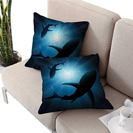 Amazon.com: Sharkikea Pillow coversSilhouette of The Fishes ...