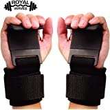 ROYAL WAVES Power Weight Lifting/Dead Lifting Training Gym Straps Hook bar Wrist Support Lift Gloves - (Black)