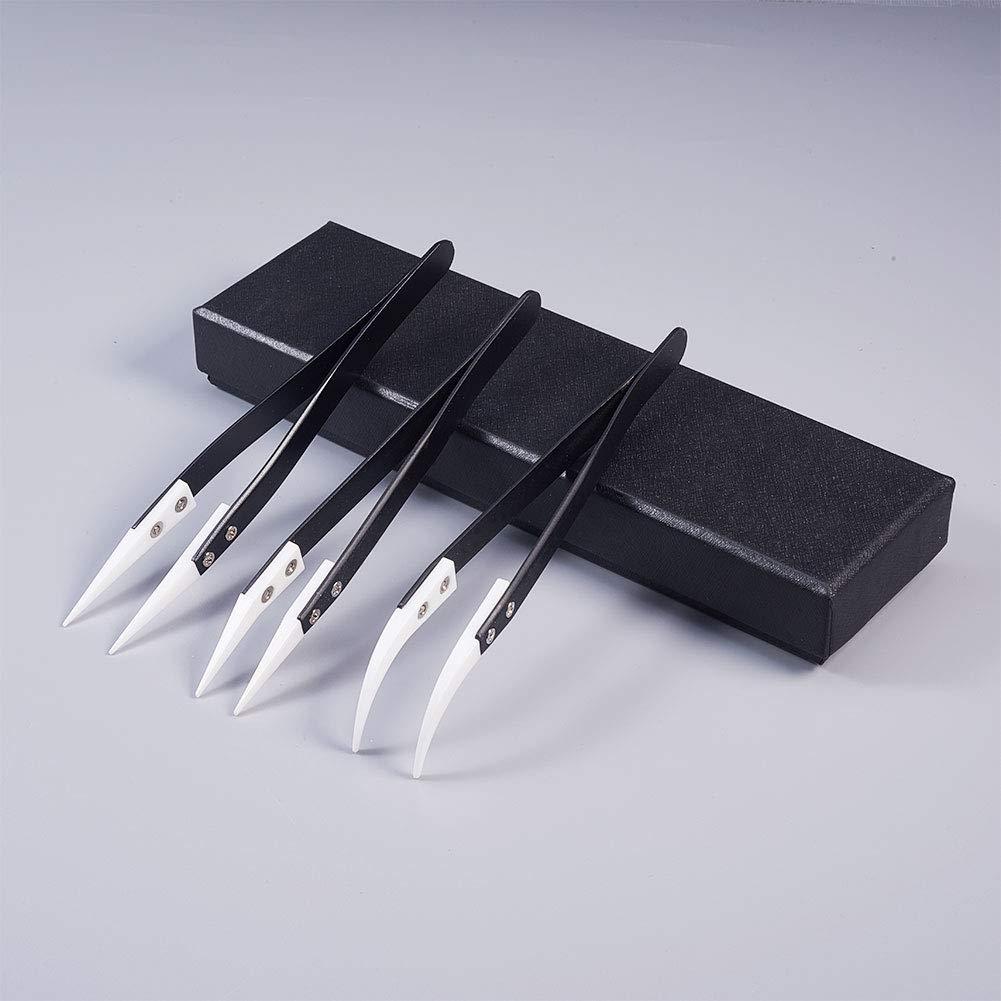 WANDIC Set di 4 pinzette con Punta in plastica ESD in Acciaio Inox Laboratorio per Elettronica Pinzette antistatiche autobloccanti di precisione gioielleria
