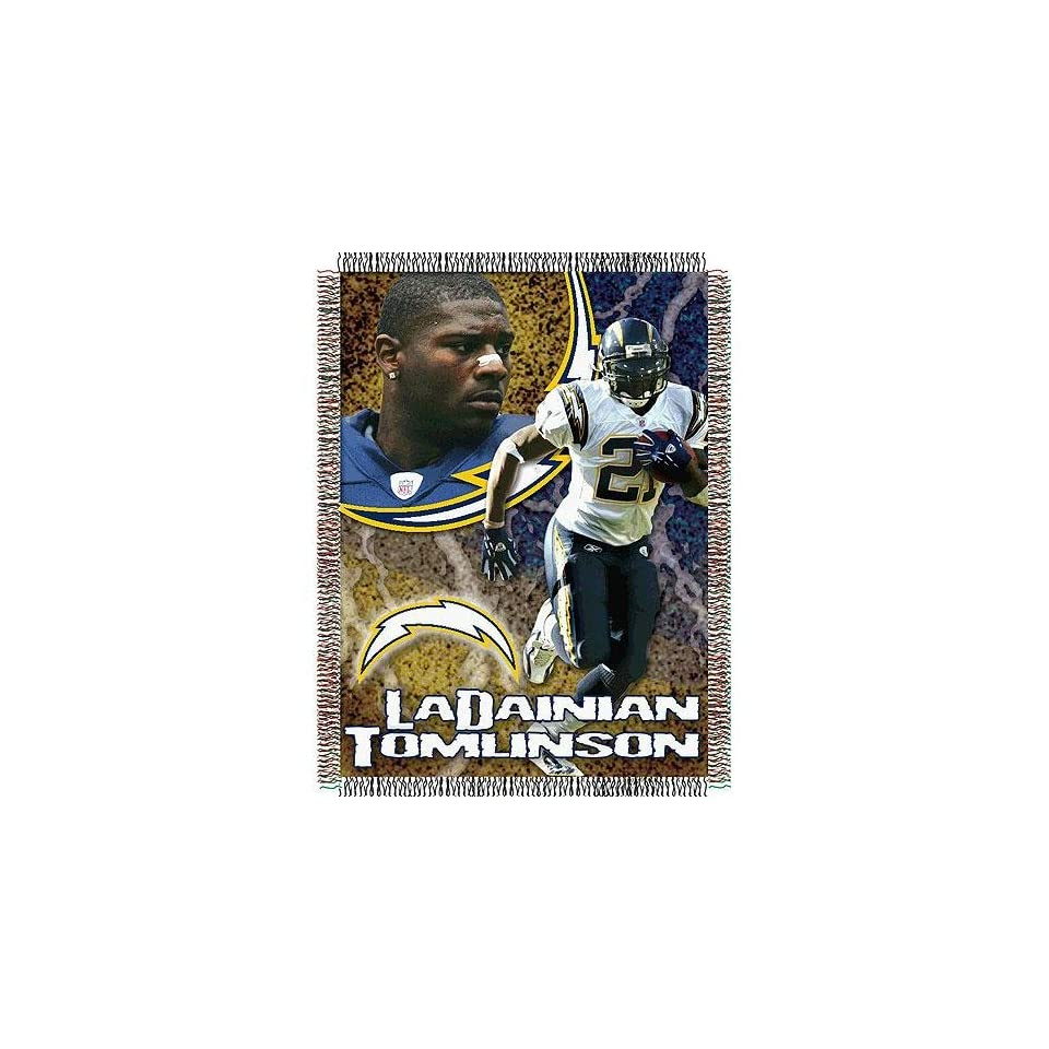 LaDainian Tomlinson #21 San Diego Chargers NFL Woven Tapestry Throw Blanket (48x60)