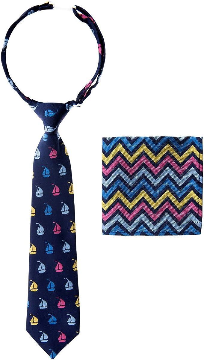 Cravatta pre-legata da ragazzo con strisce ondulate Pocket Square Set Canacana